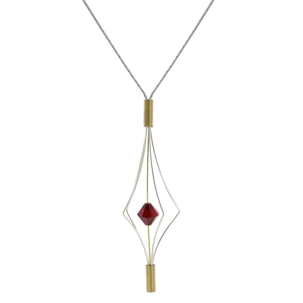 Les Poulettes Bijoux Collier Argent et Plaqué Or Lanterne et Swarovski - Grand Modèle - Rouge