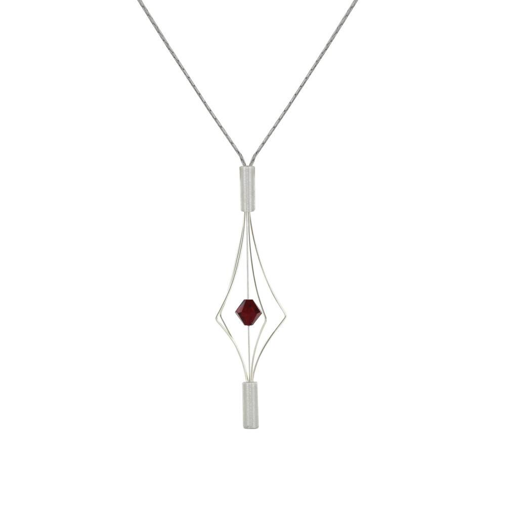 Les Poulettes Bijoux Collier Argent Lanterne et Swarovski - Petit Modèle - Rouge