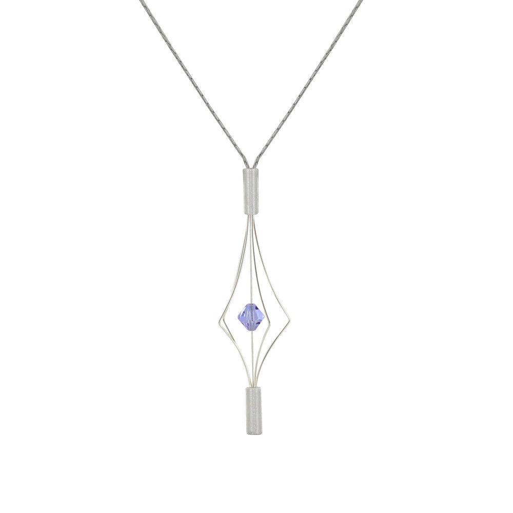 Les Poulettes Bijoux Collier Argent Lanterne et Swarovski - Petit Modèle - Violet clair