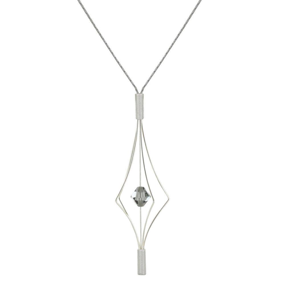 Les Poulettes Bijoux Collier Argent Lanterne et Swarovski - Grand Modèle - Gris