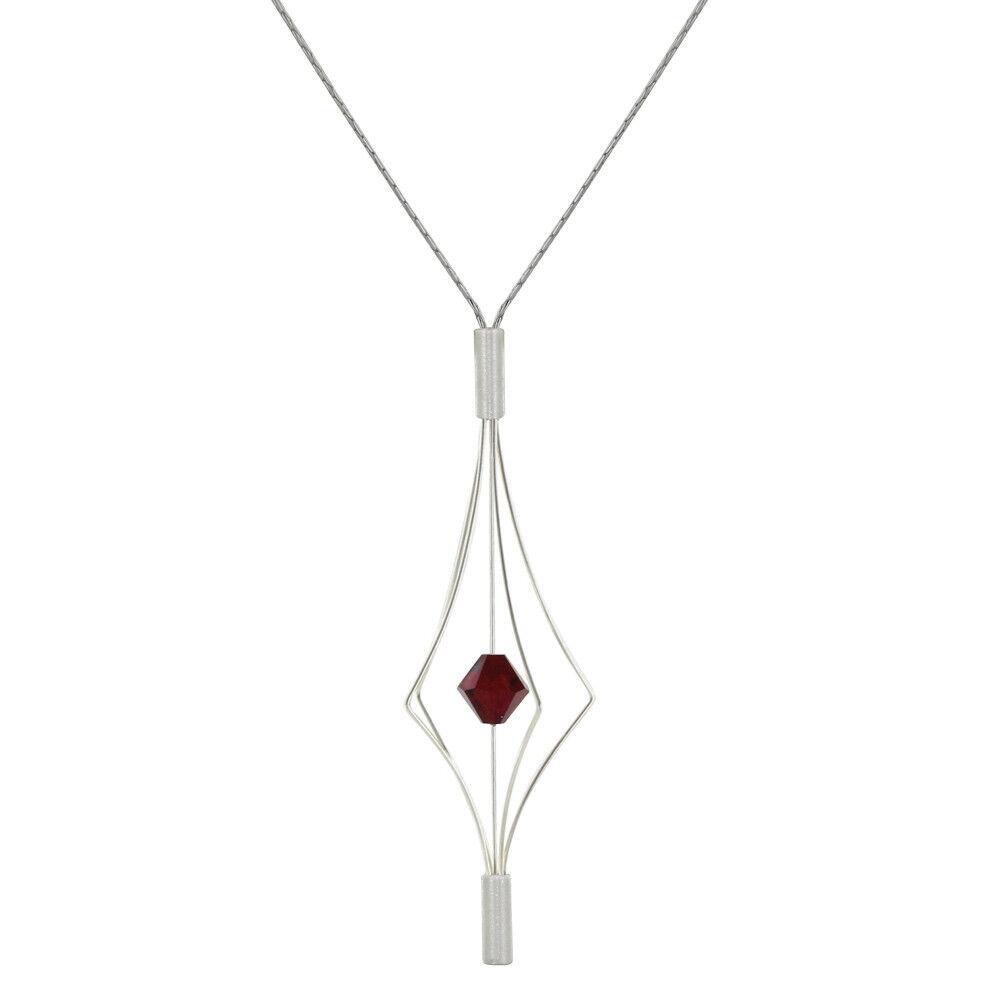 Les Poulettes Bijoux Collier Argent Lanterne et Swarovski - Grand Modèle - Rouge