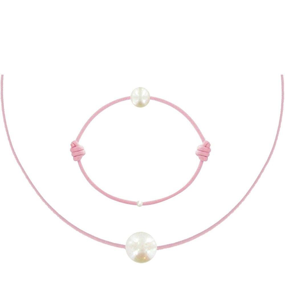 Les Poulettes Bijoux Set Collier et Bracelet Lien La Perle Blanche des Poulettes - Classics - Rose