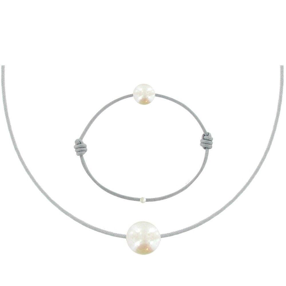 Les Poulettes Bijoux Set Collier et Bracelet Lien La Perle Blanche des Poulettes - Classics - Gris clair
