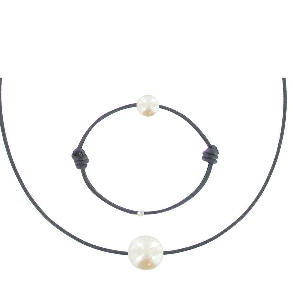 Les Poulettes Bijoux Set Collier et Bracelet Lien La Perle Blanche des Poulettes - Classics - Bleu Navy