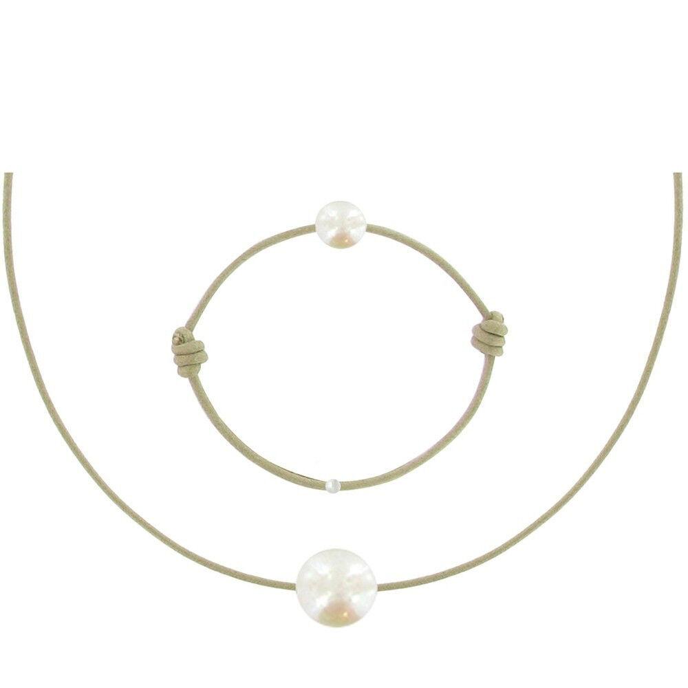 Les Poulettes Bijoux Set Collier et Bracelet Lien La Perle Blanche des Poulettes - Classics - Beige