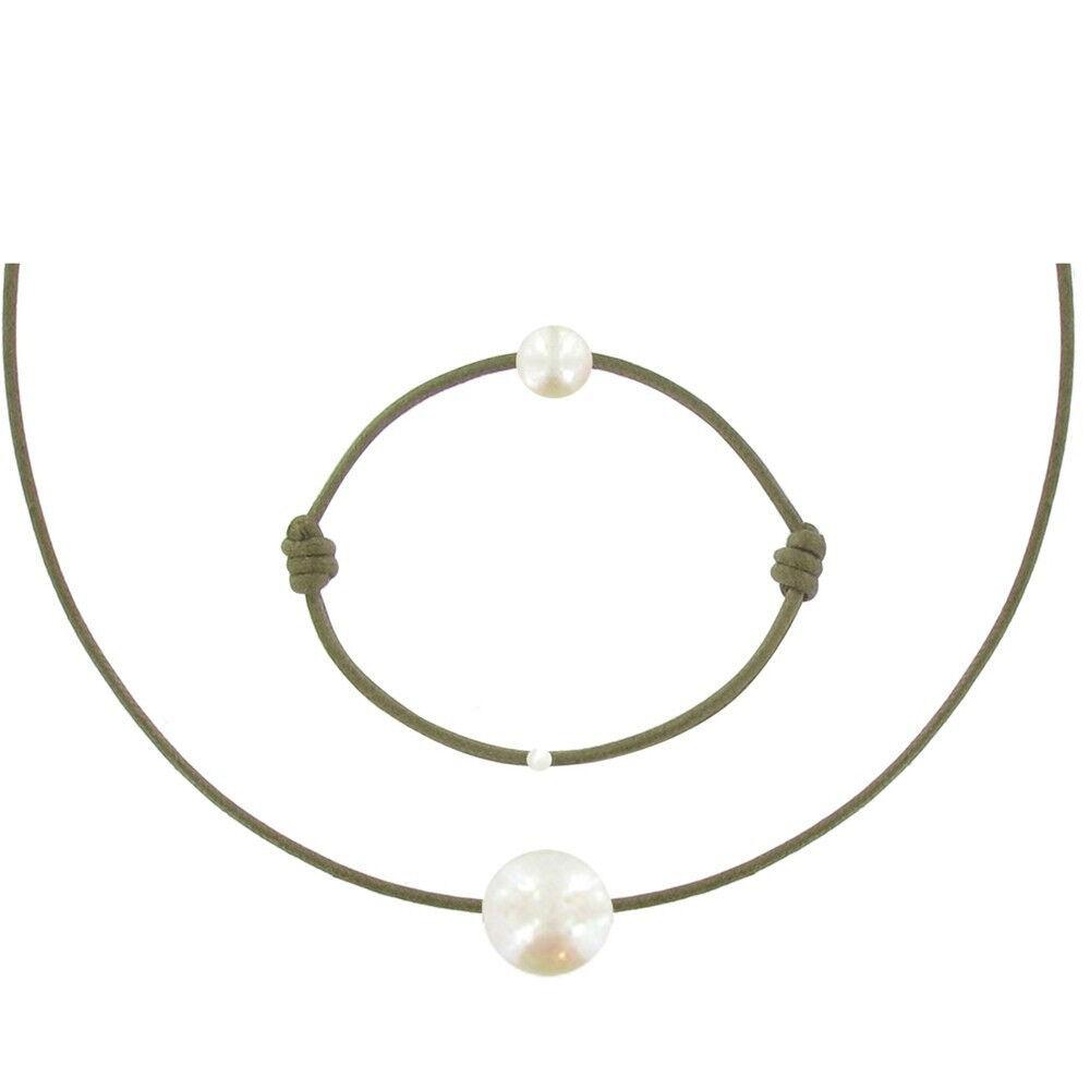 Les Poulettes Bijoux Set Collier et Bracelet Lien La Perle Blanche des Poulettes - Classics - Vert kaki