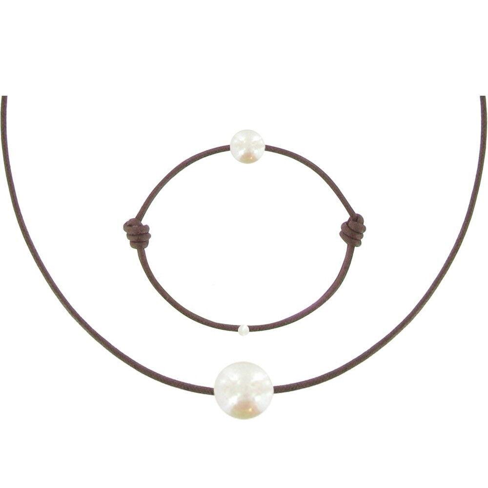 Les Poulettes Bijoux Set Collier et Bracelet Lien La Perle Blanche des Poulettes - Classics - Marron clair