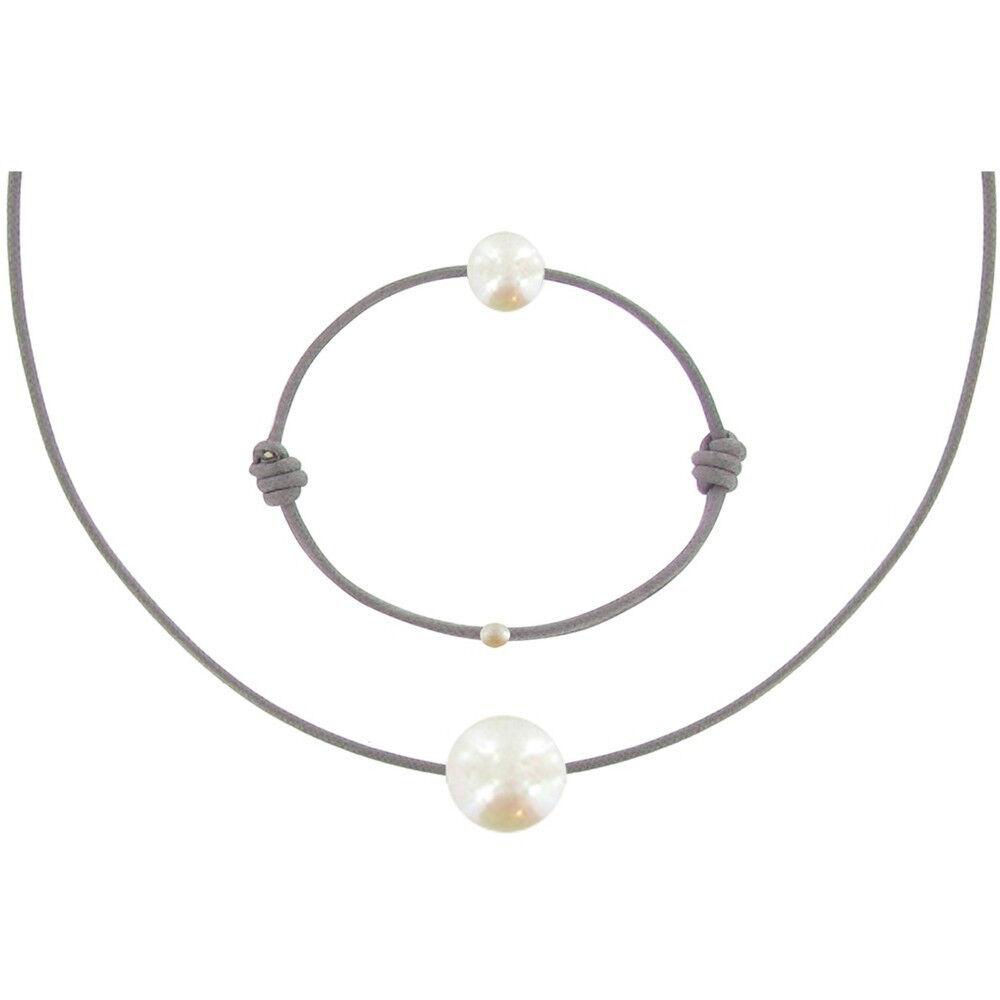 Les Poulettes Bijoux Set Collier et Bracelet Lien La Perle Blanche des Poulettes - Classics - Gris