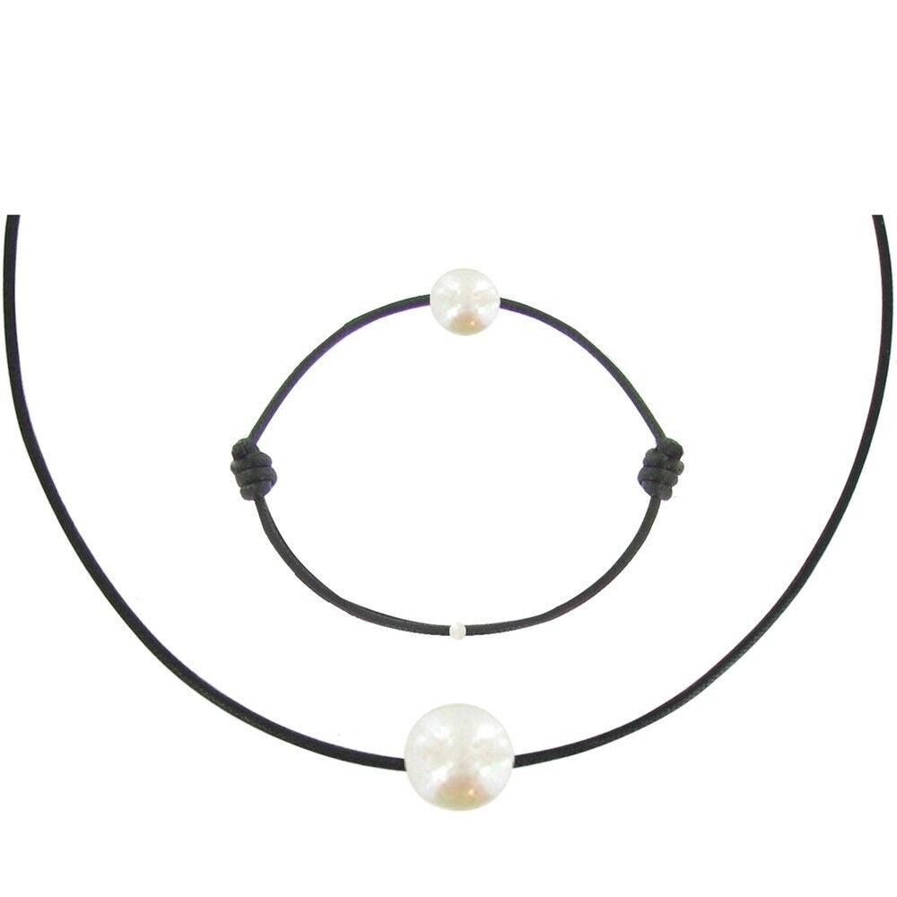 Les Poulettes Bijoux Set Collier et Bracelet Lien La Perle Blanche des Poulettes - Classics - Noir