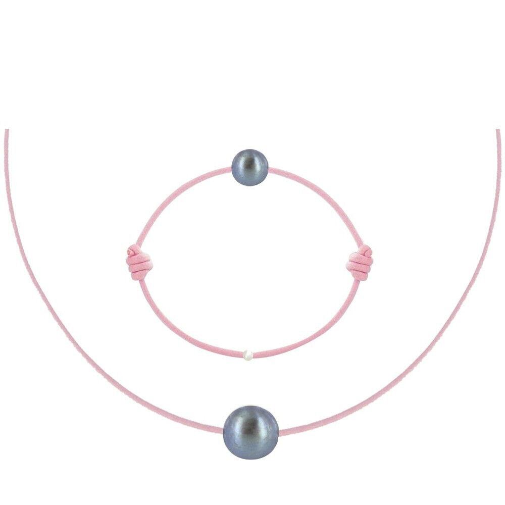 Les Poulettes Bijoux Set Collier et Bracelet Lien La Perle Noire des Poulettes - Classics - Rose
