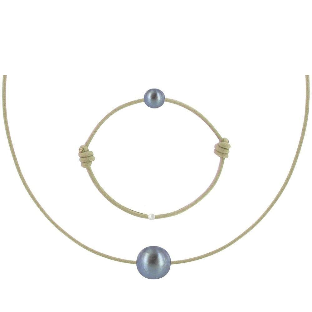 Les Poulettes Bijoux Set Collier et Bracelet Lien La Perle Noire des Poulettes - Classics - Beige