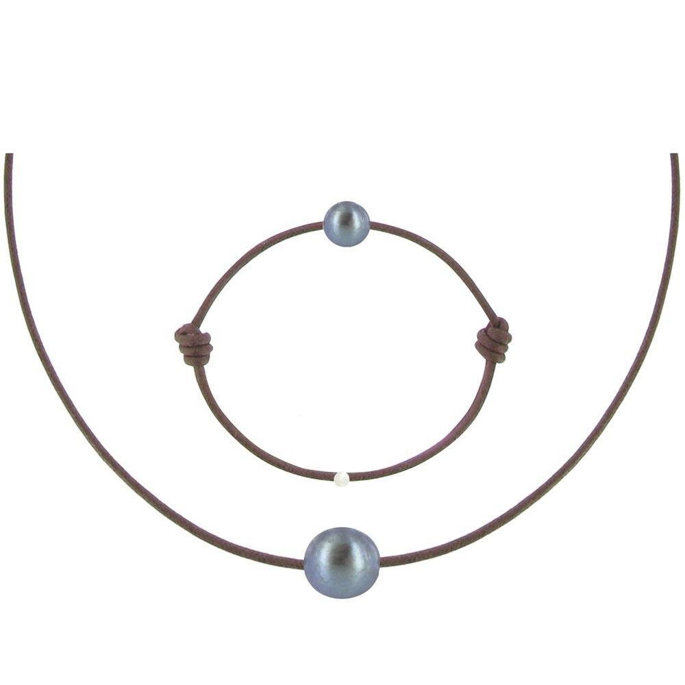 Les Poulettes Bijoux Set Collier et Bracelet Lien La Perle Noire des Poulettes - Classics - Marron clair