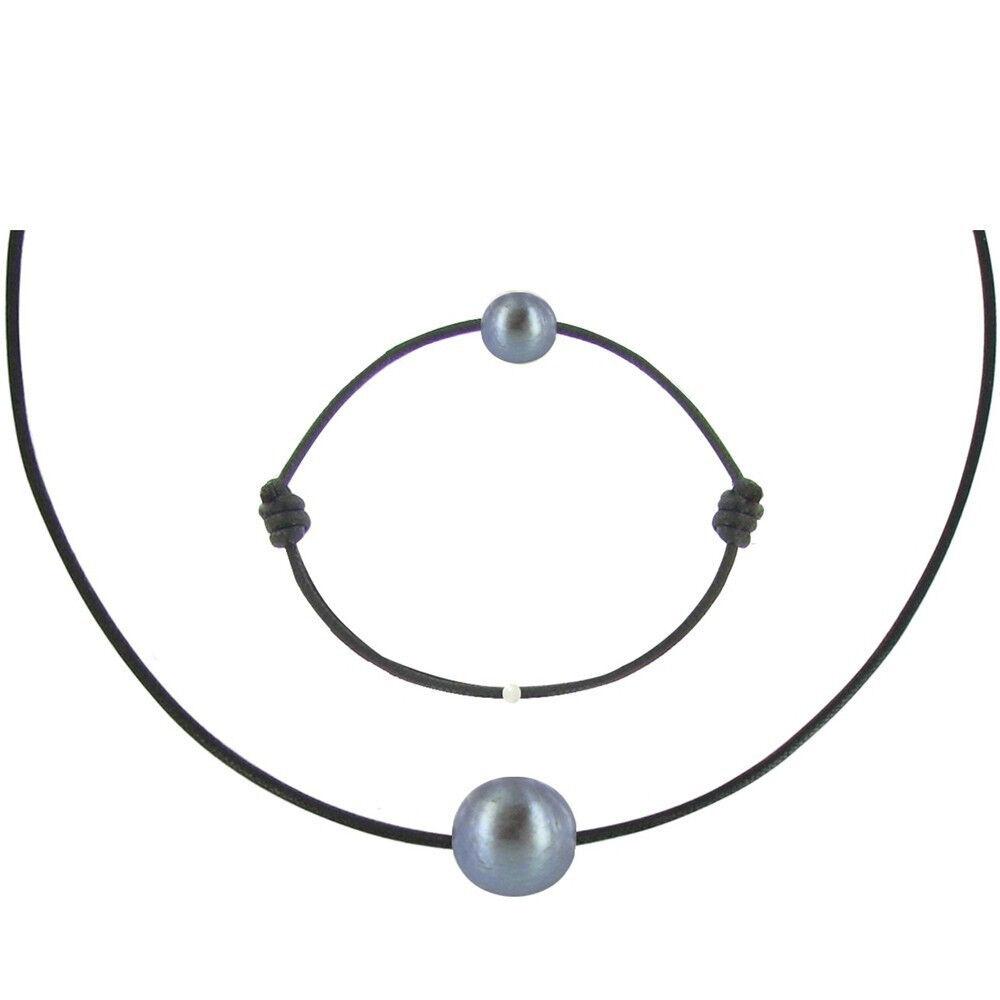 Les Poulettes Bijoux Set Collier et Bracelet Lien La Perle Noire des Poulettes - Classics - Noir