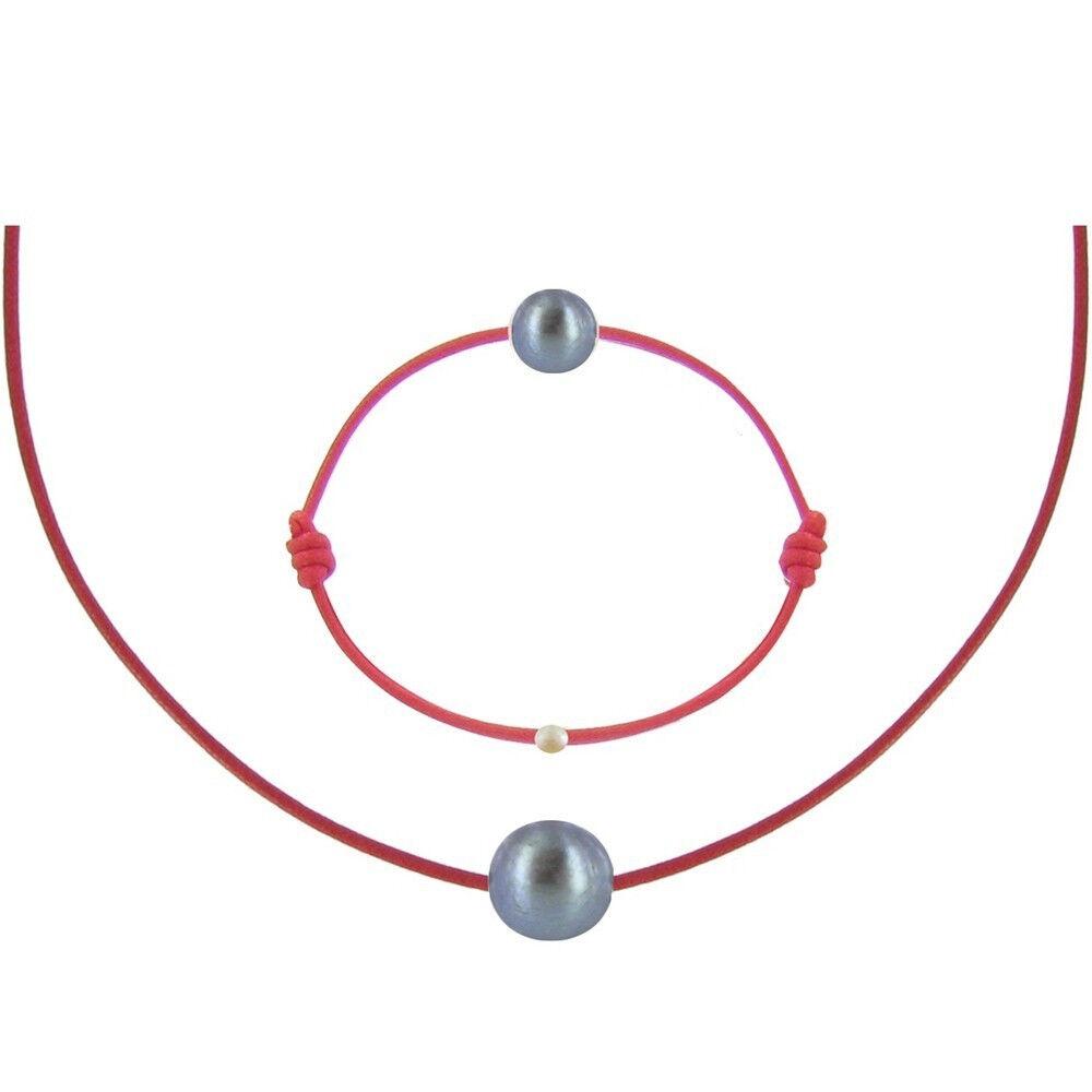 Les Poulettes Bijoux Set Collier et Bracelet Lien La Perle Noire des Poulettes - Classics - Rouge
