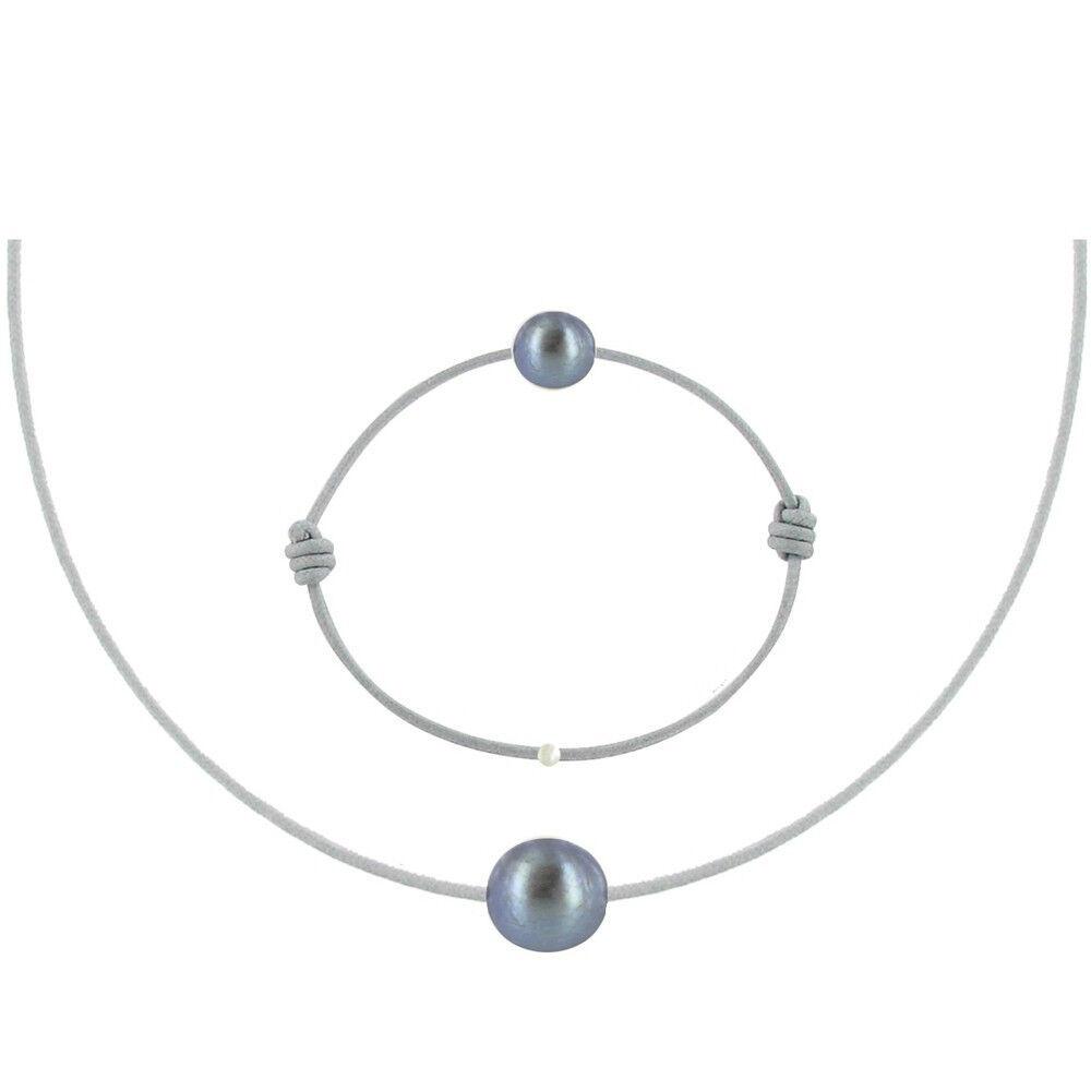 Les Poulettes Bijoux Set Collier et Bracelet Lien La Perle Noire des Poulettes - Classics - Gris clair