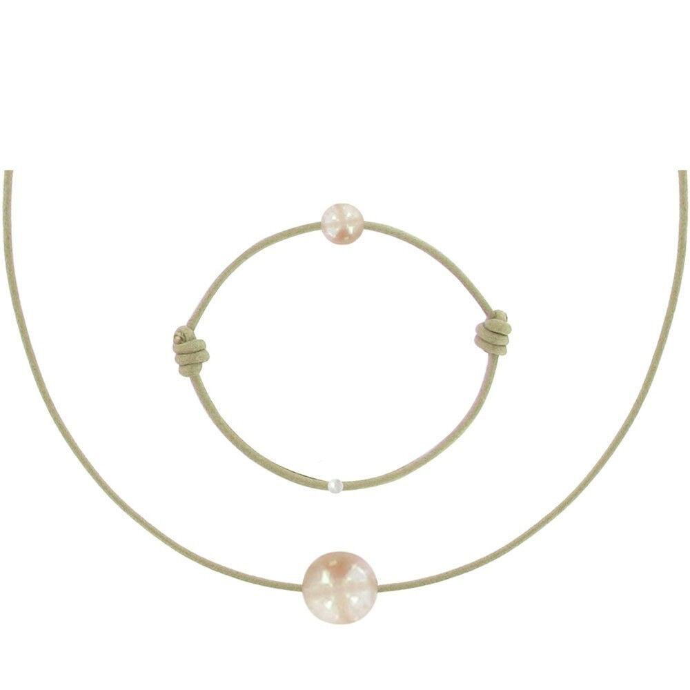 Les Poulettes Bijoux Set Collier et Bracelet Lien La Perle Rose des Poulettes - Classics - Beige