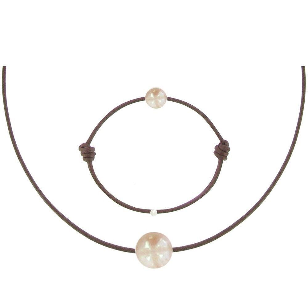 Les Poulettes Bijoux Set Collier et Bracelet Lien La Perle Rose des Poulettes - Classics - Marron clair