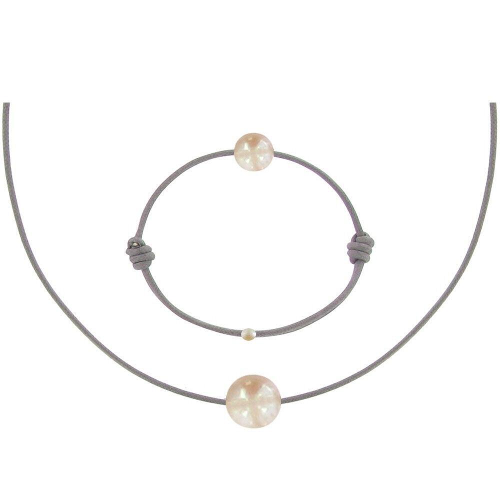 Les Poulettes Bijoux Set Collier et Bracelet Lien La Perle Rose des Poulettes - Classics - Gris