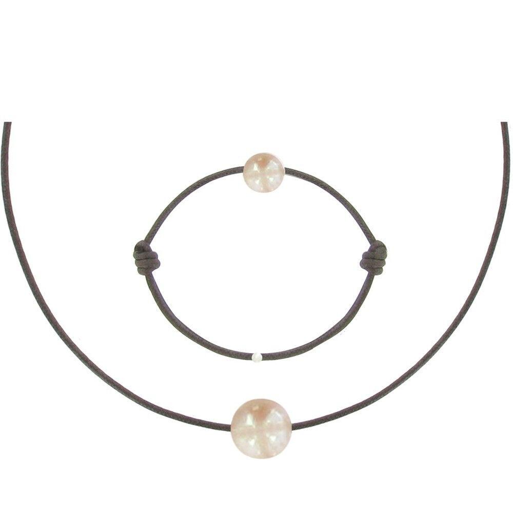 Les Poulettes Bijoux Set Collier et Bracelet Lien La Perle Rose des Poulettes - Classics - Marron foncé