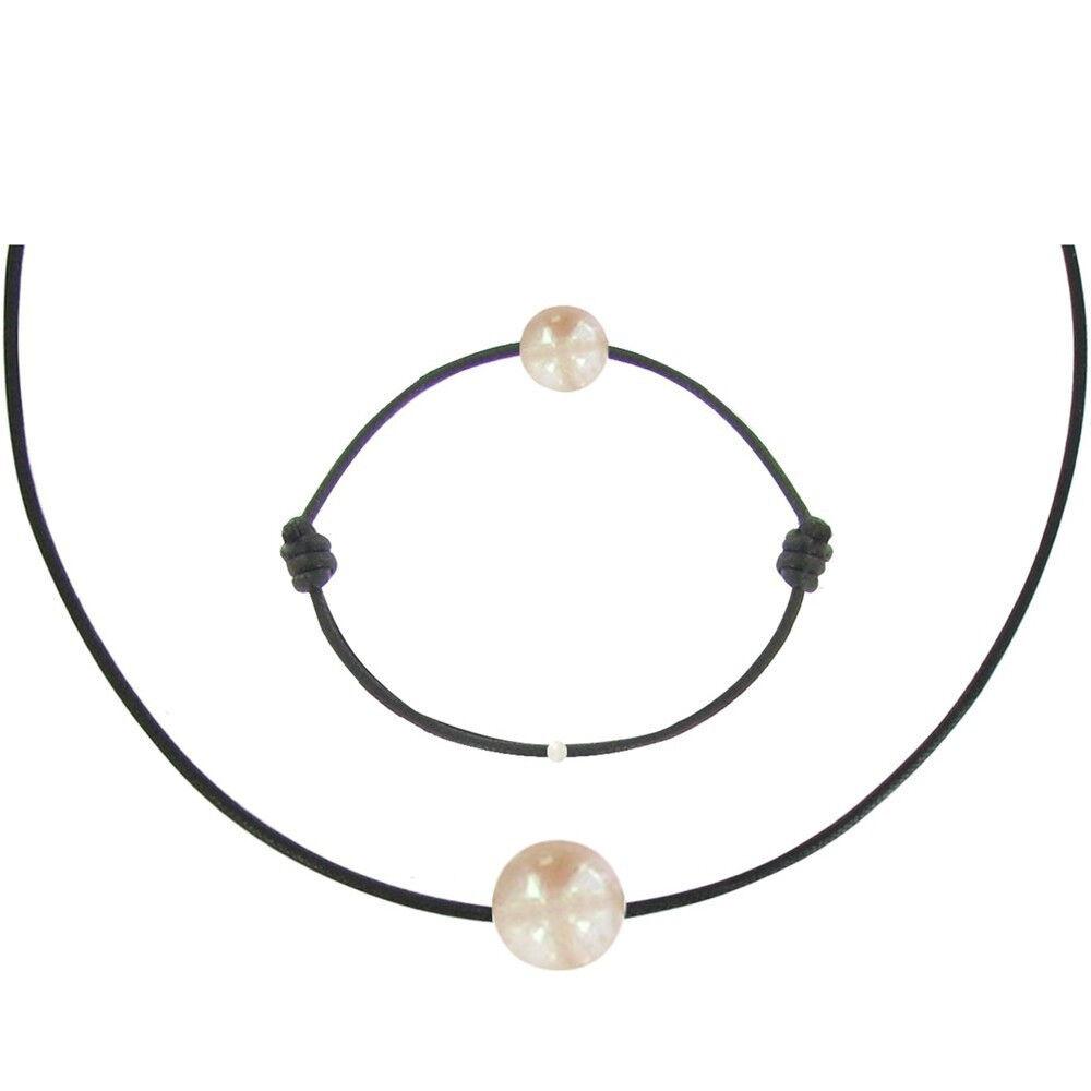 Les Poulettes Bijoux Set Collier et Bracelet Lien La Perle Rose des Poulettes - Classics - Noir