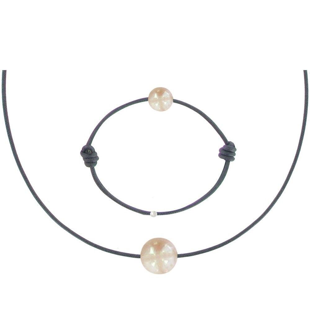Les Poulettes Bijoux Set Collier et Bracelet Lien La Perle Rose des Poulettes - Classics - Bleu Navy