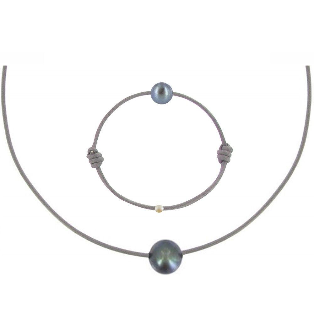 Les Poulettes Bijoux Set Collier et Bracelet Lien La Perle Noire des Poulettes - Classics - Gris