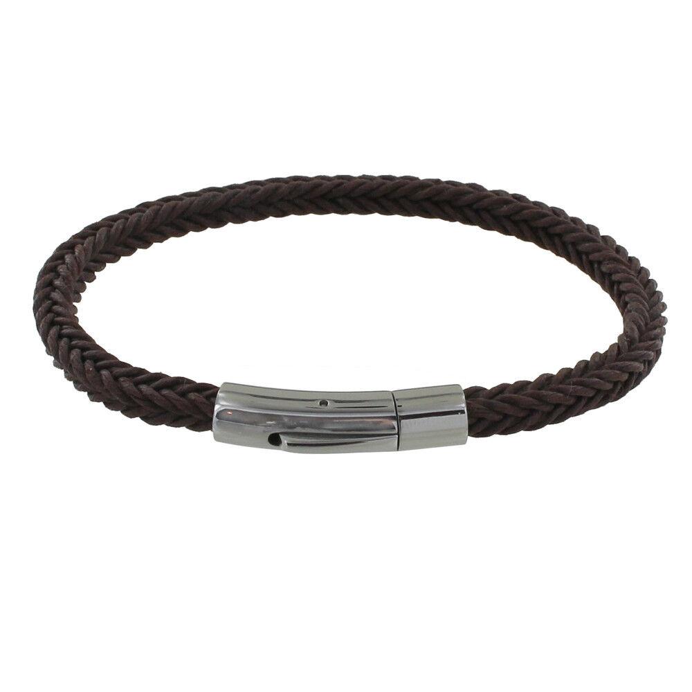 LES POULETTES BIJOUX Bracelet Homme Tresse en Coton Carré Simple - Marron foncé