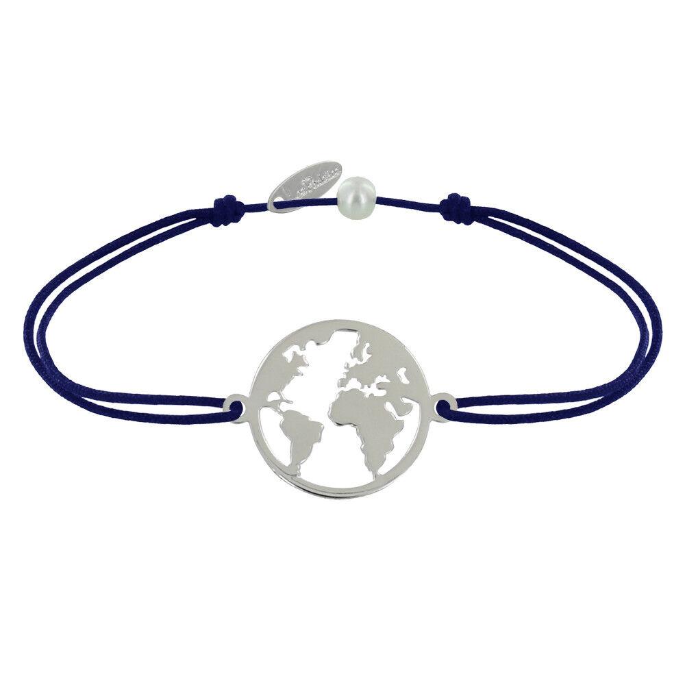 Les Poulettes Bijoux Bracelet Lien Médaille Argent Ronde Mappemonde - Bleu Navy