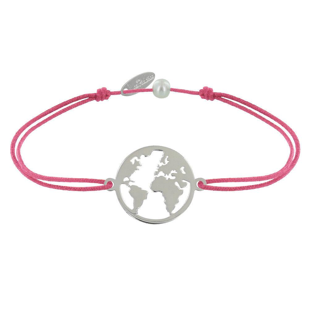 Les Poulettes Bijoux Bracelet Lien Médaille Argent Ronde Mappemonde - Fuchsia