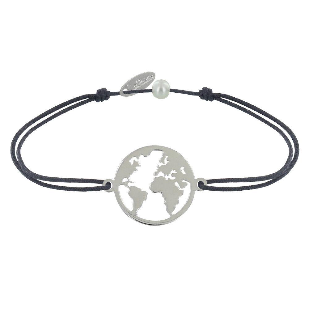 Les Poulettes Bijoux Bracelet Lien Médaille Argent Ronde Mappemonde - Gris