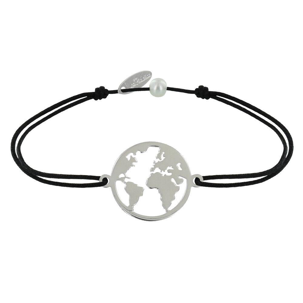 Les Poulettes Bijoux Bracelet Lien Médaille Argent Ronde Mappemonde - Noir