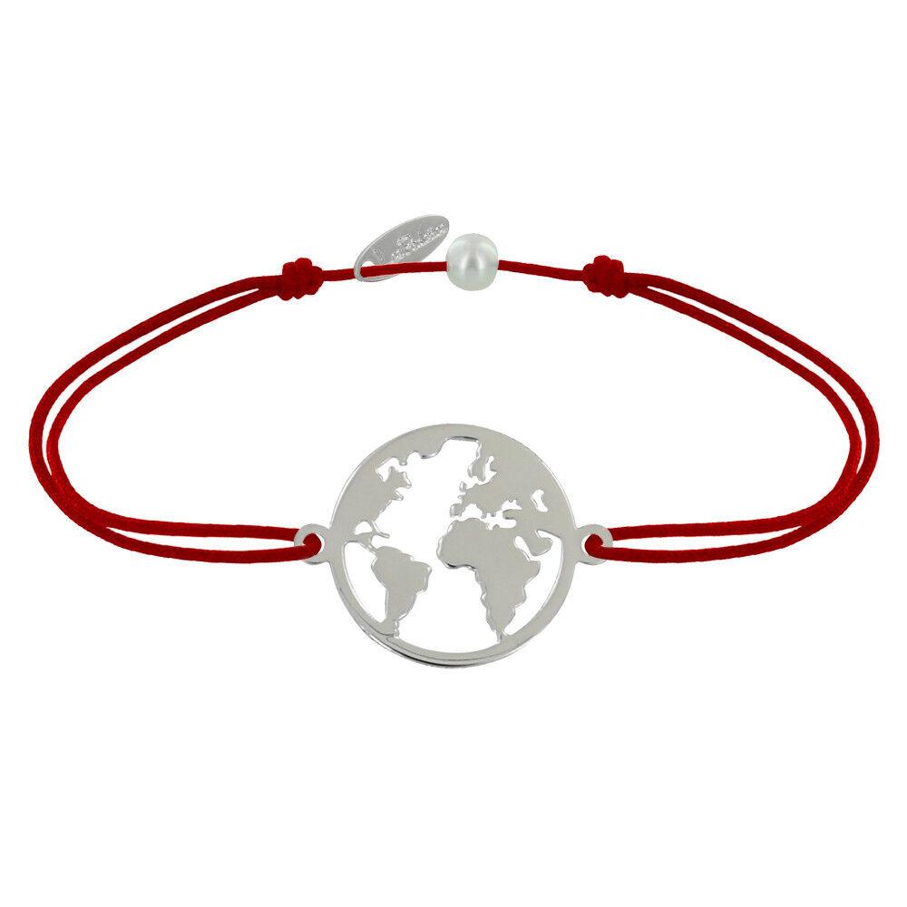 Les Poulettes Bijoux Bracelet Lien Médaille Argent Ronde Mappemonde - Rouge