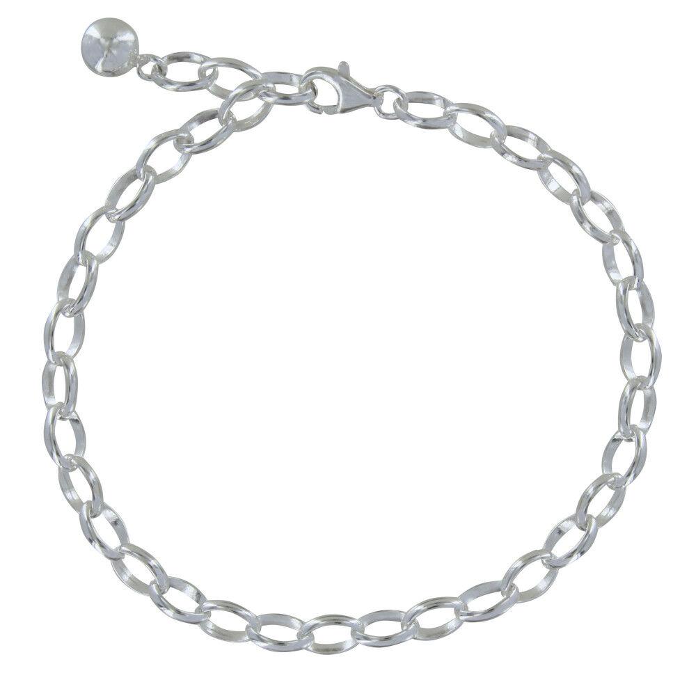 Les Poulettes Bijoux Bracelet Gourmette et Attache Charms Argent 925 - Classics - taille 20 cm