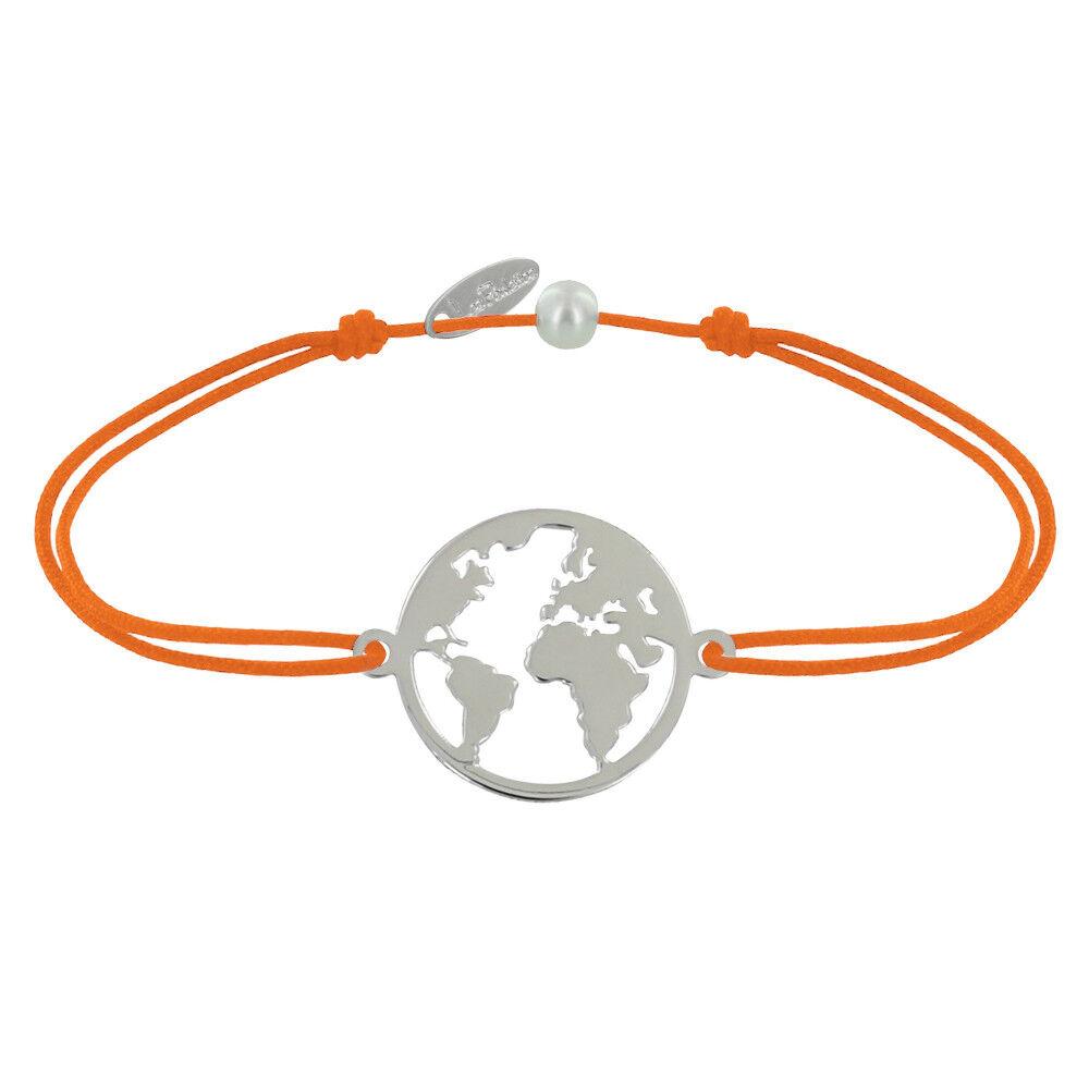 Les Poulettes Bijoux Bracelet Lien Médaille Argent Ronde Mappemonde - Orange