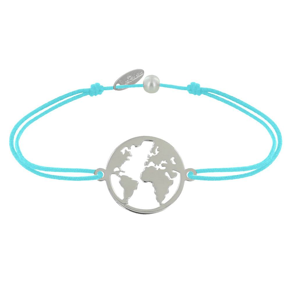 Les Poulettes Bijoux Bracelet Lien Médaille Argent Ronde Mappemonde - Turquoise