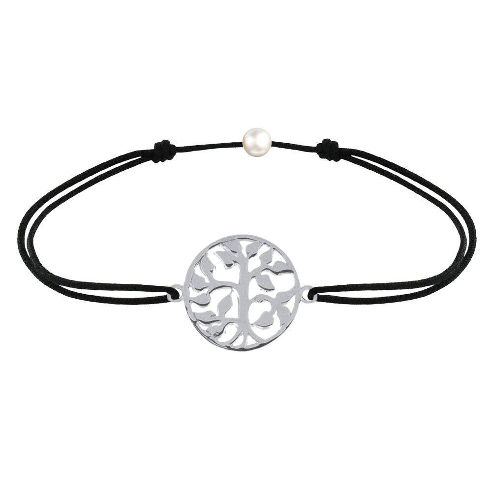 Les Poulettes Bijoux Bracelet Lien Arbre de Vie Argent - Noir