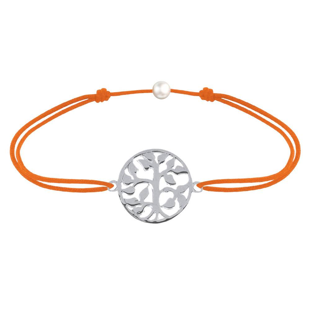 Les Poulettes Bijoux Bracelet Lien Arbre de Vie Argent - Orange