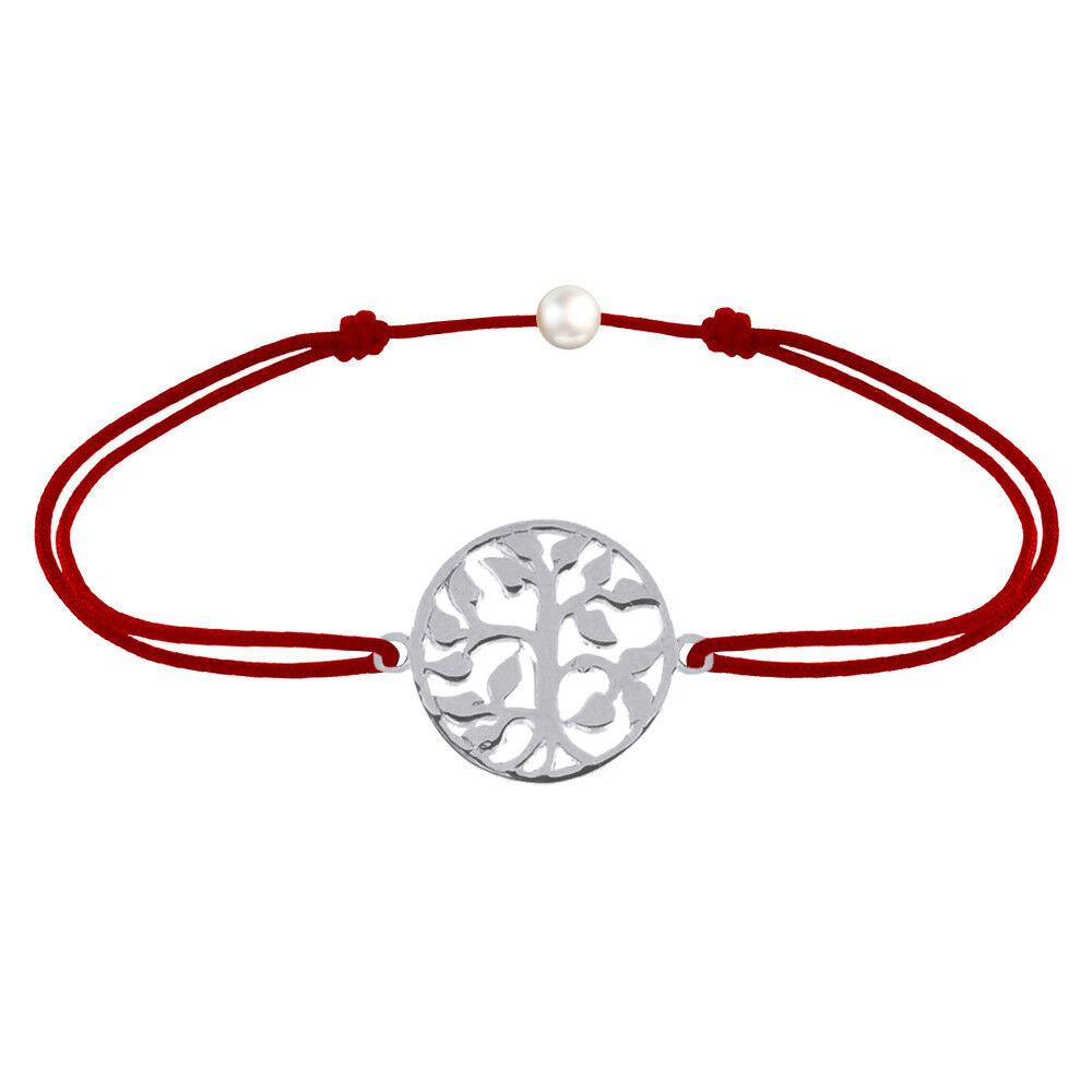 Les Poulettes Bijoux Bracelet Lien Arbre de Vie Argent - Rouge