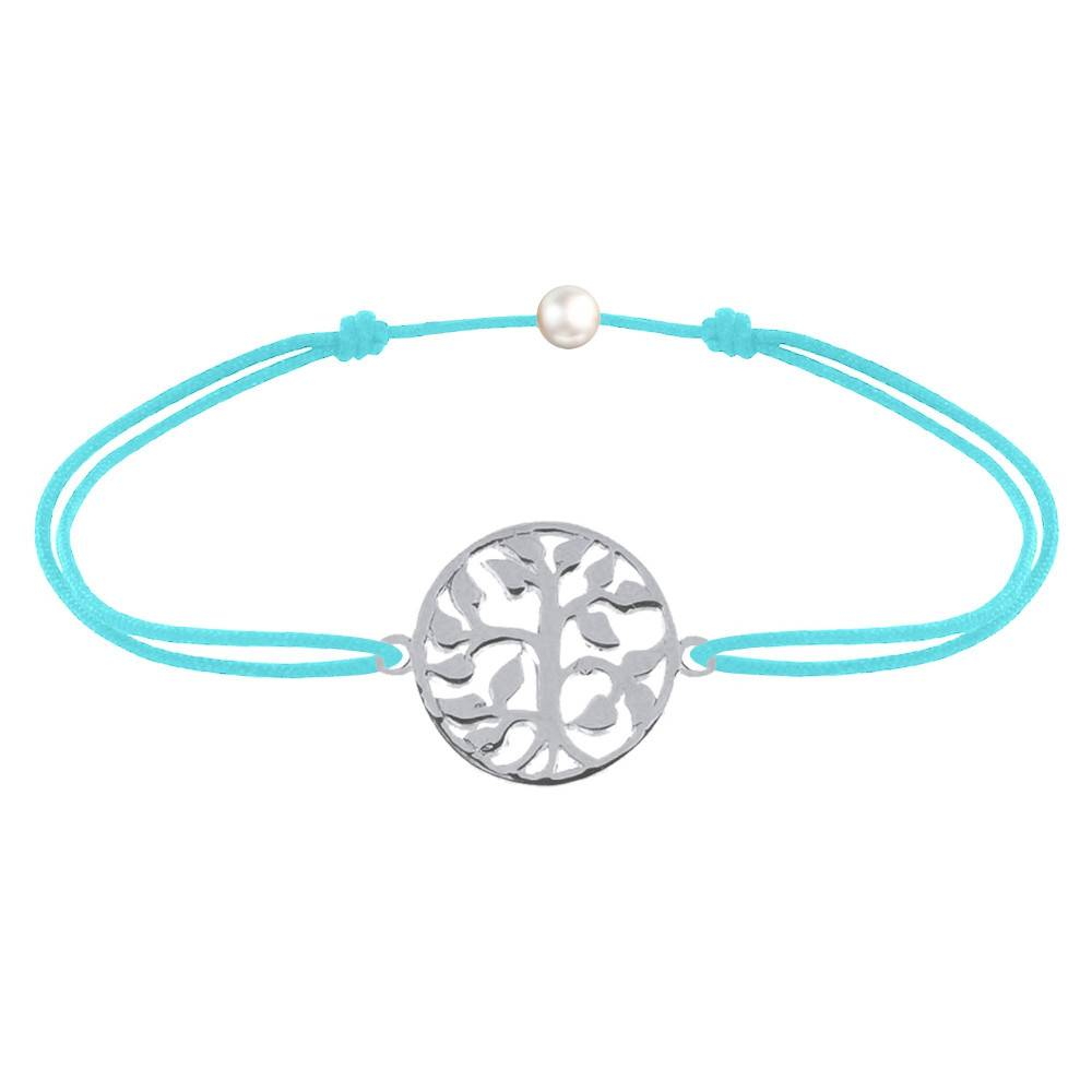 Les Poulettes Bijoux Bracelet Lien Arbre de Vie Argent - Turquoise