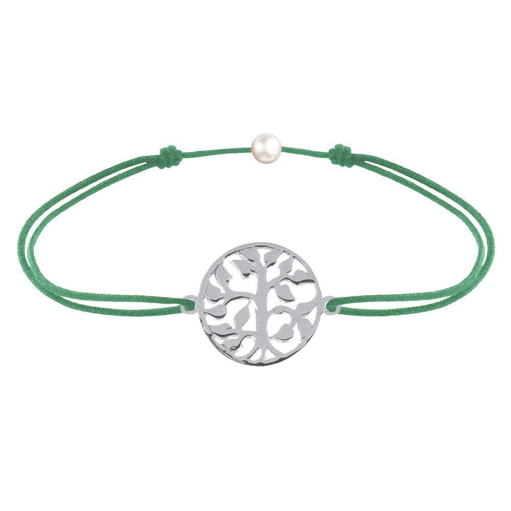 Les Poulettes Bijoux Bracelet Lien Arbre de Vie Argent - Vert