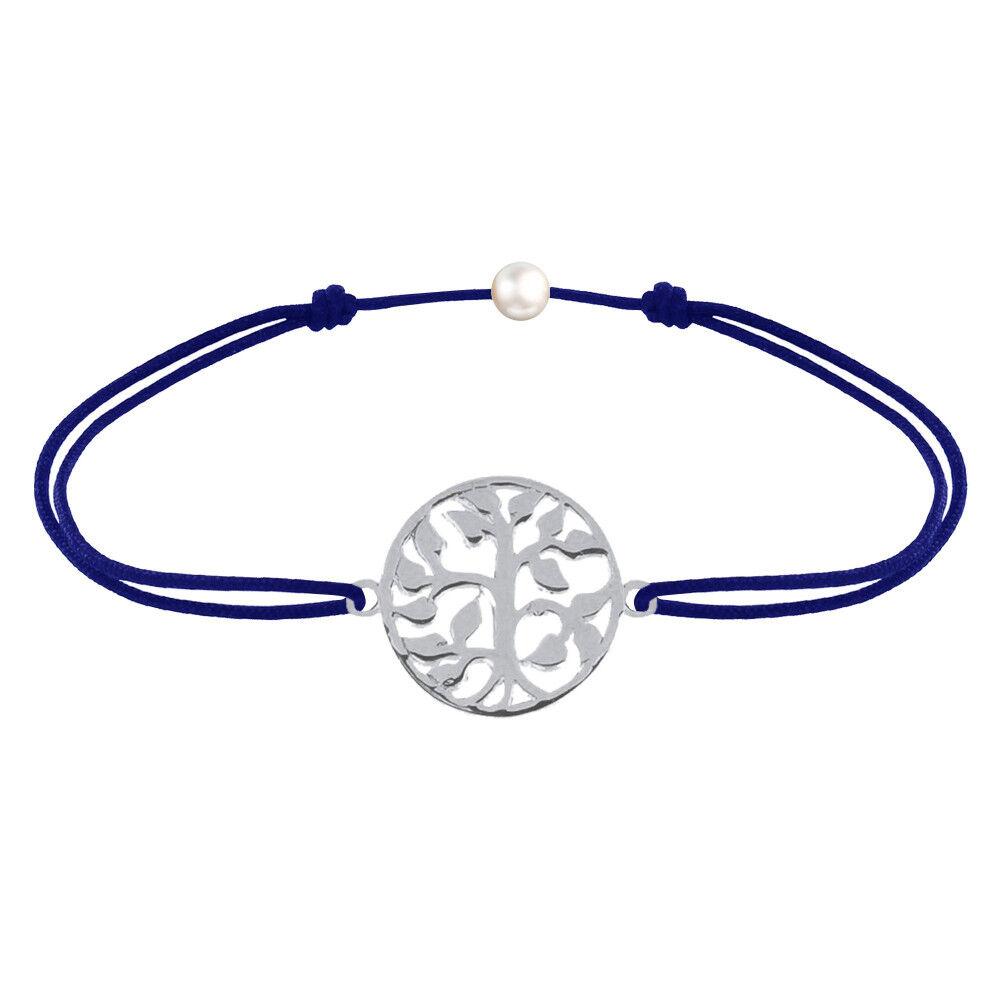 Les Poulettes Bijoux Bracelet Lien Arbre de Vie Argent - Bleu