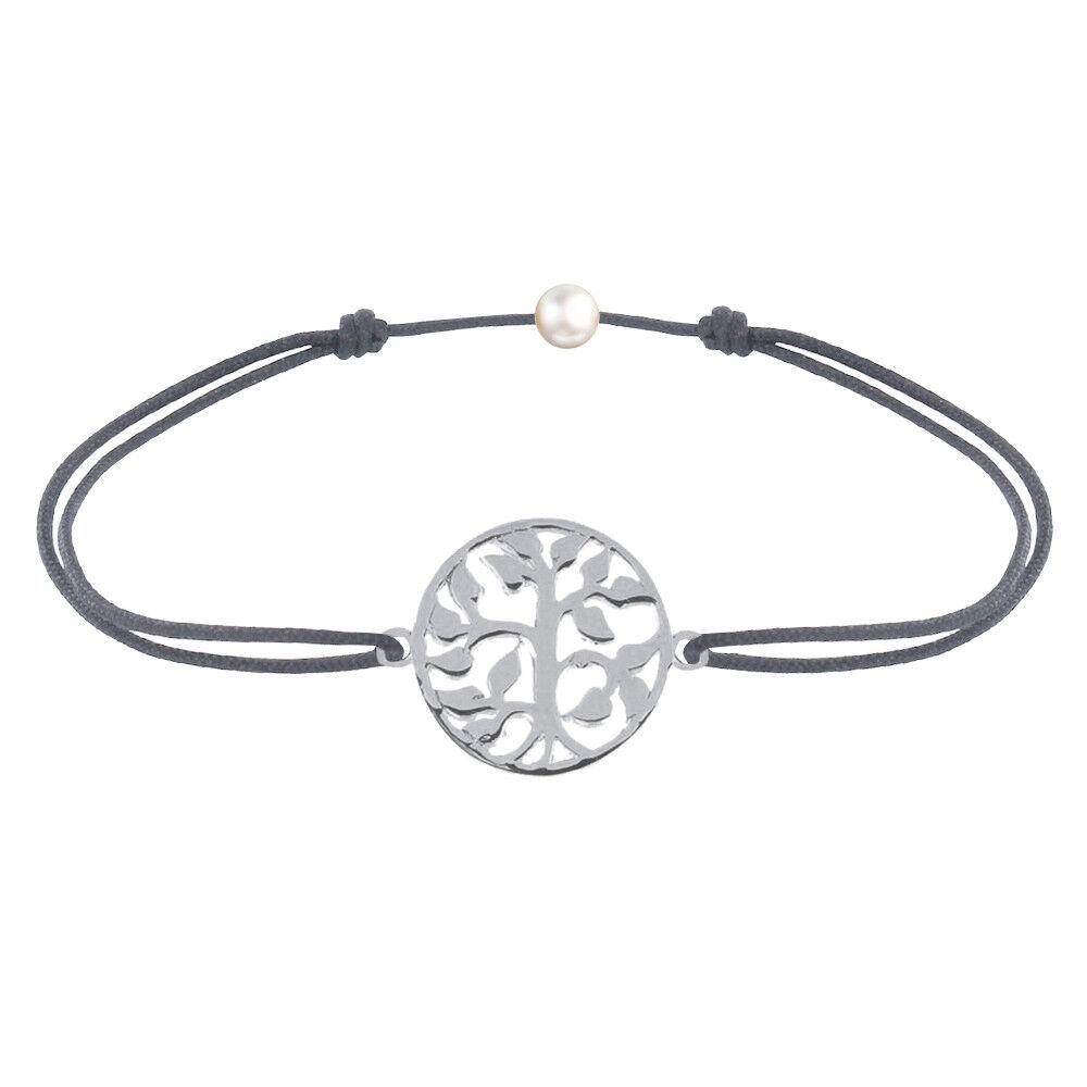 Les Poulettes Bijoux Bracelet Lien Arbre de Vie Argent - Gris