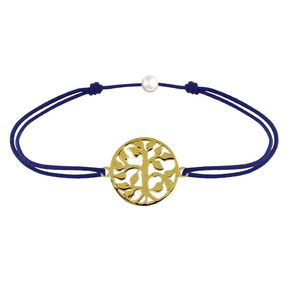 Les Poulettes Bijoux Bracelet Lien Arbre de Vie Plaqué Or - Bleu