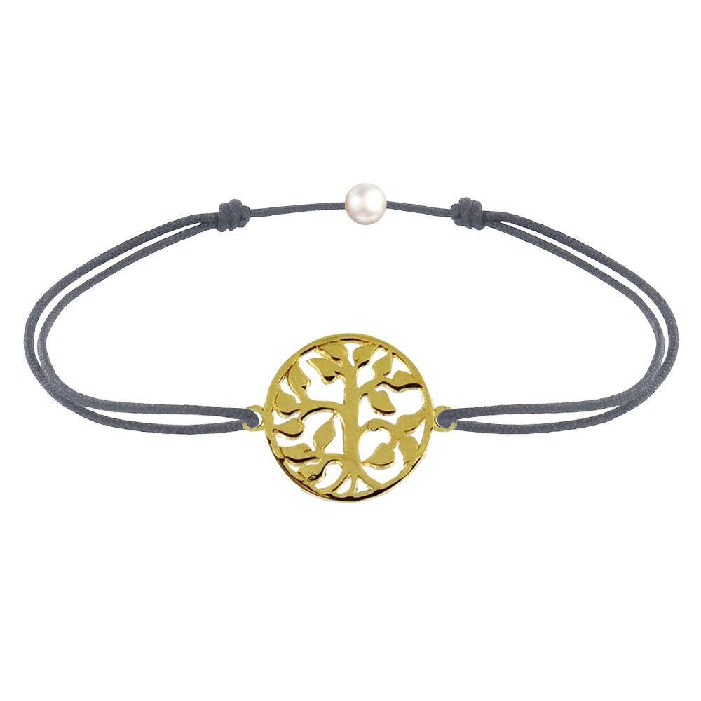 Les Poulettes Bijoux Bracelet Lien Arbre de Vie Plaqué Or - Gris