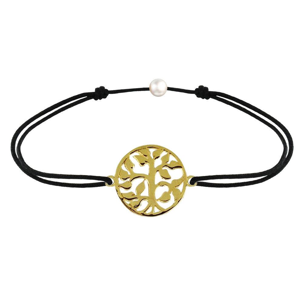 Les Poulettes Bijoux Bracelet Lien Arbre de Vie Plaqué Or - Noir