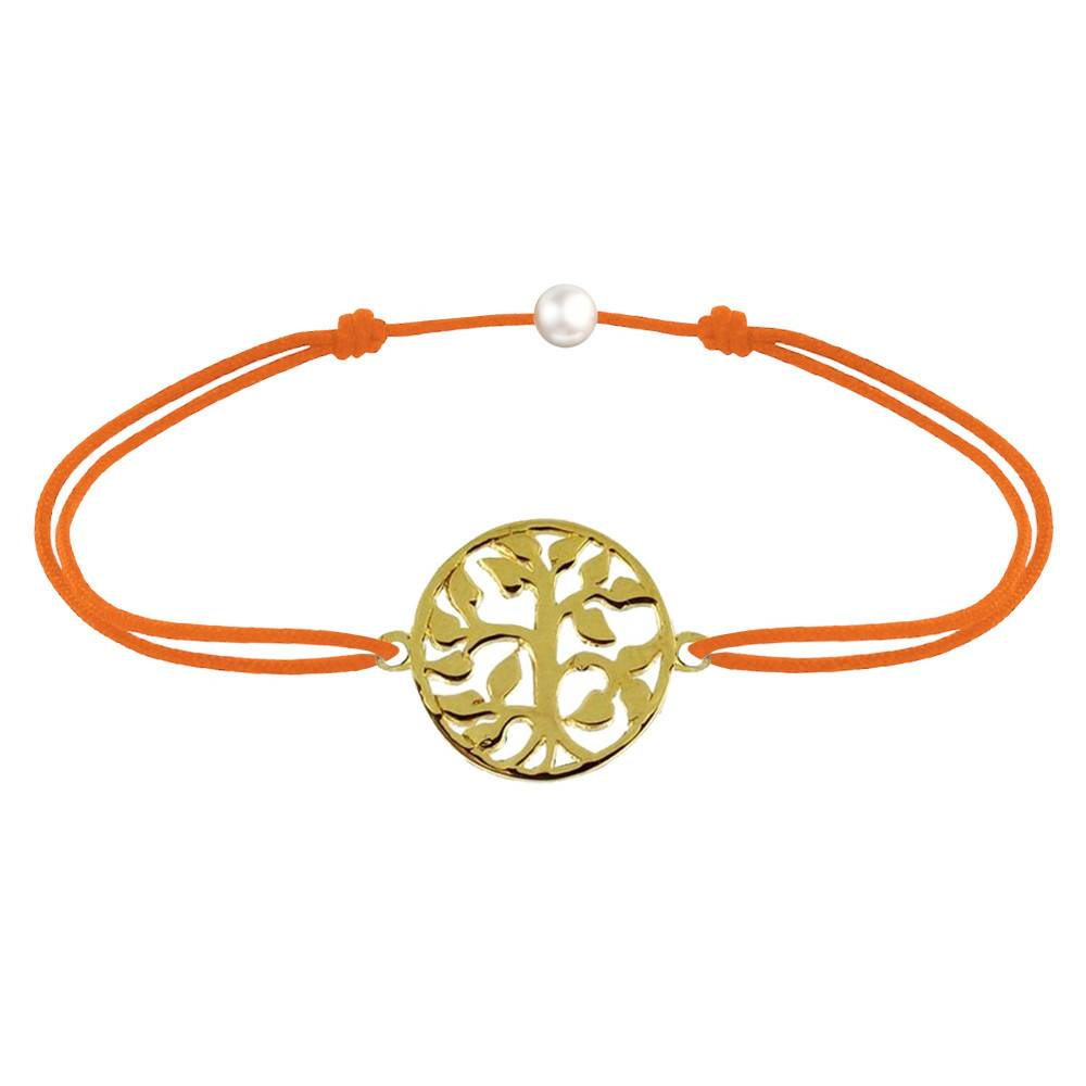 Les Poulettes Bijoux Bracelet Lien Arbre de Vie Plaqué Or - Orange