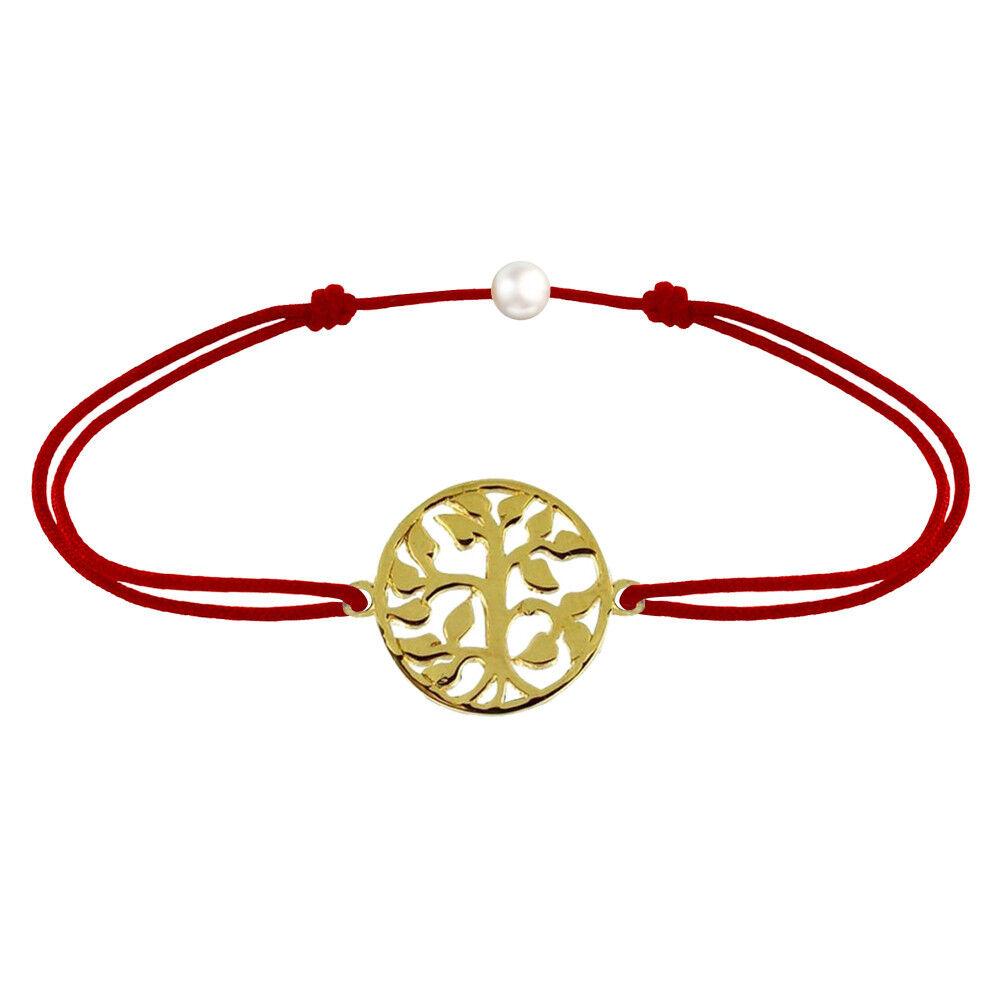 Les Poulettes Bijoux Bracelet Lien Arbre de Vie Plaqué Or - Rouge
