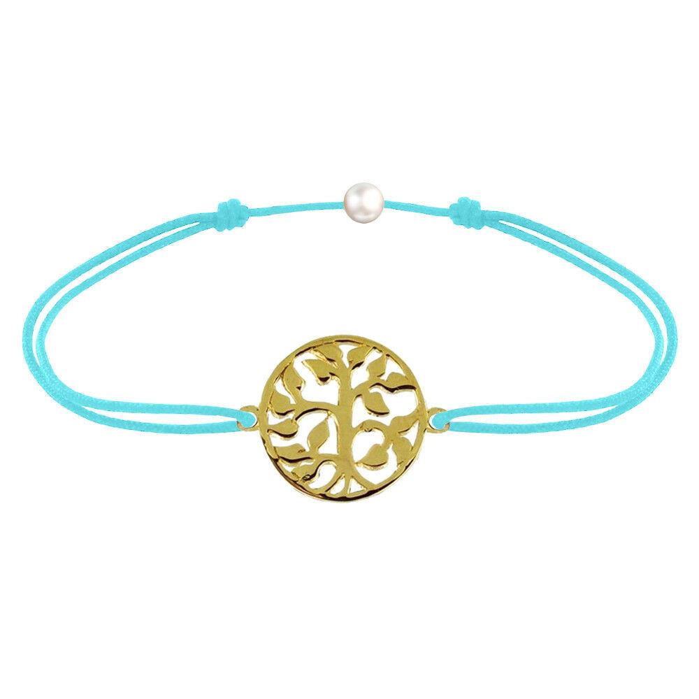 Les Poulettes Bijoux Bracelet Lien Arbre de Vie Plaqué Or - Turquoise