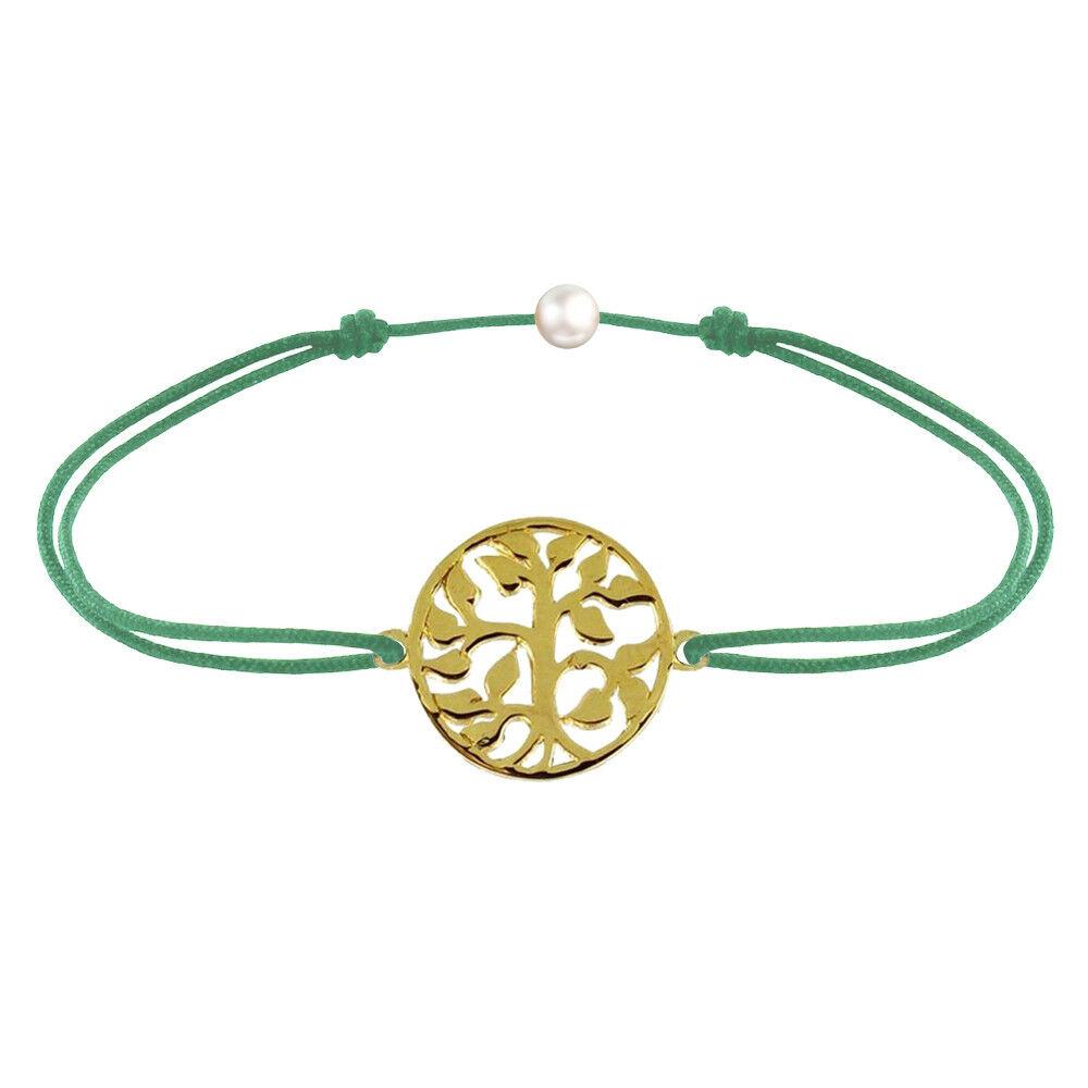 Les Poulettes Bijoux Bracelet Lien Arbre de Vie Plaqué Or - Vert