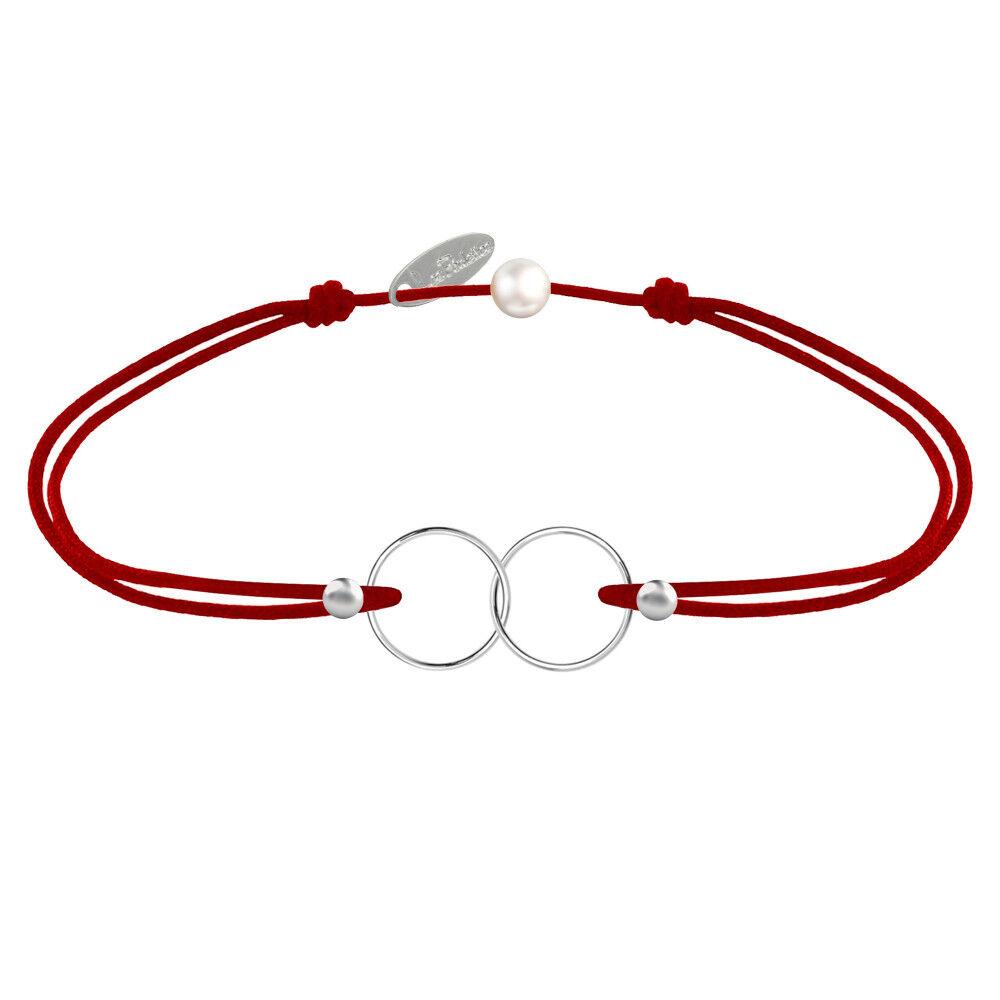 Les Poulettes Bijoux Bracelet Lien Argent Anneaux Toi et Moi - Classics - Rouge